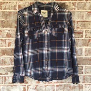 A&F Navy & Mustard Plaid Flannel Button Up Shirt